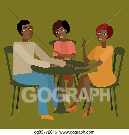 Eps vector african having. Conversation clipart family conversation
