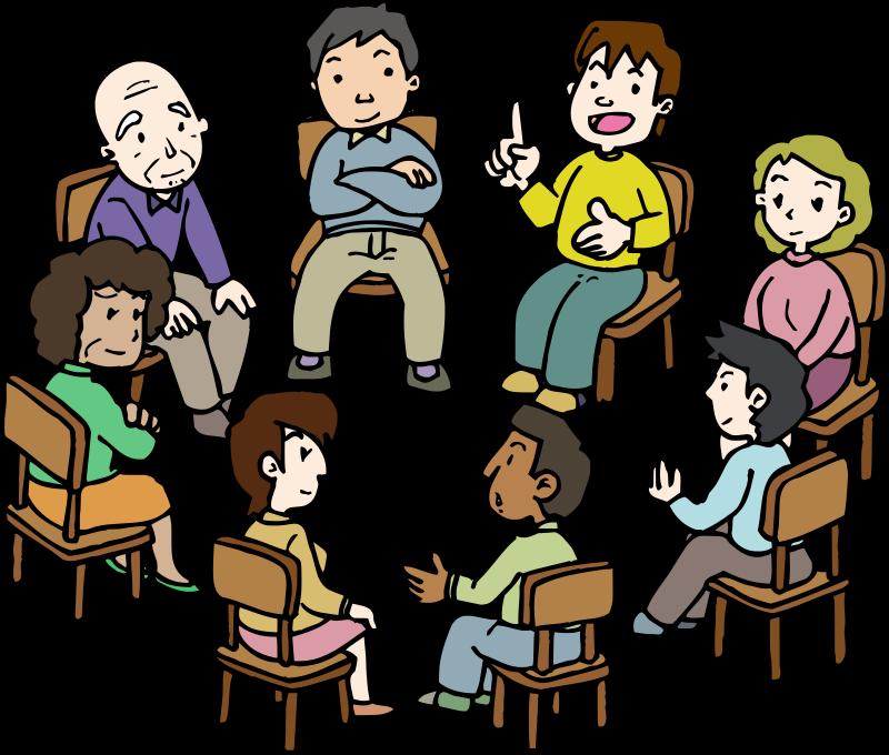 Conversation clipart in depth. Diverse group medium image