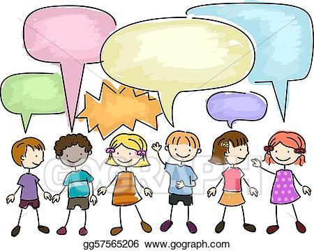 Stock illustrations kids talking. Conversation clipart in depth