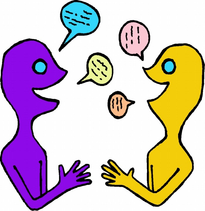 Free person speaking cliparts. Conversation clipart partner share