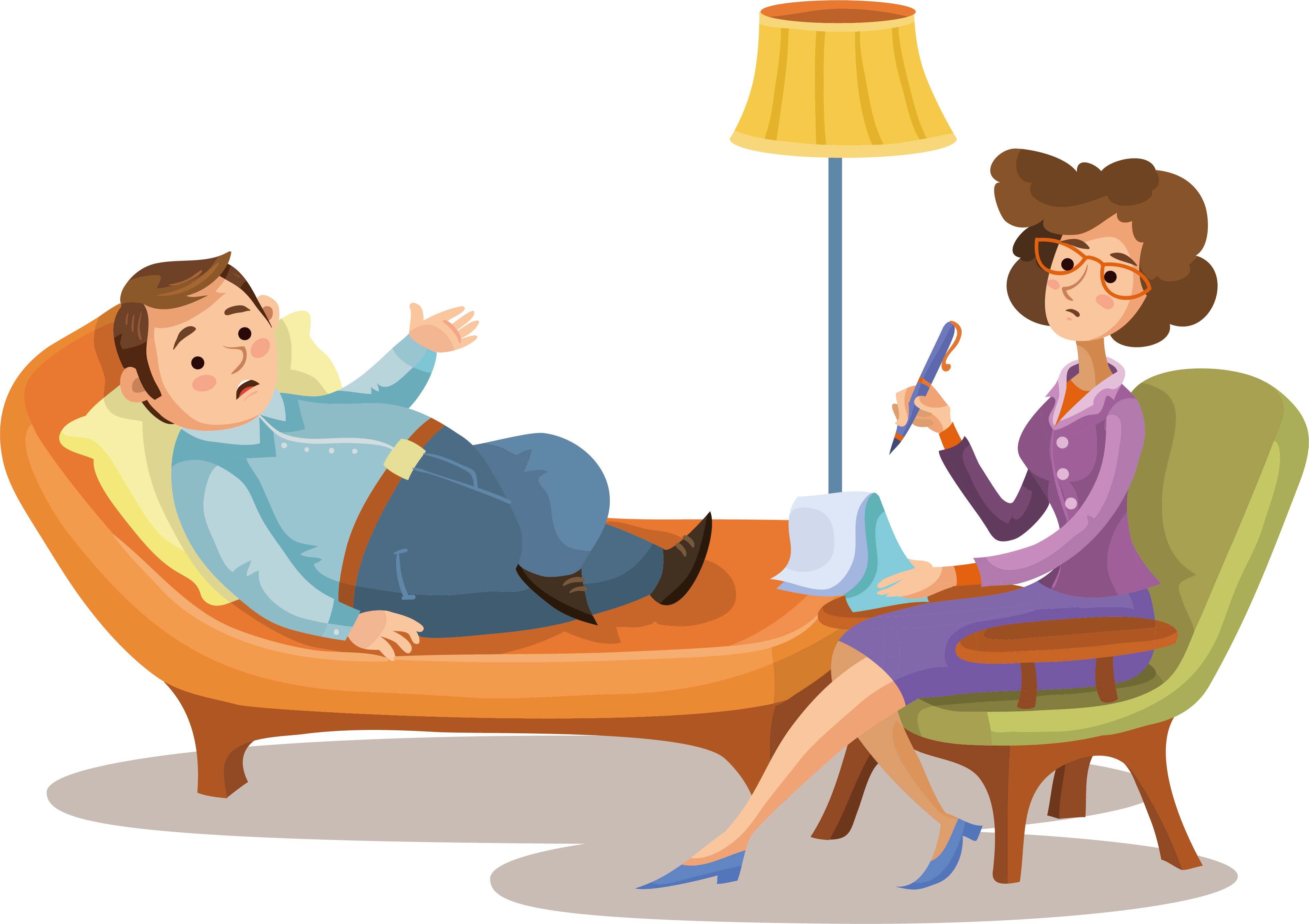 Psychotherapist cartoon psychologist illustration. Couch clipart psychotherapy