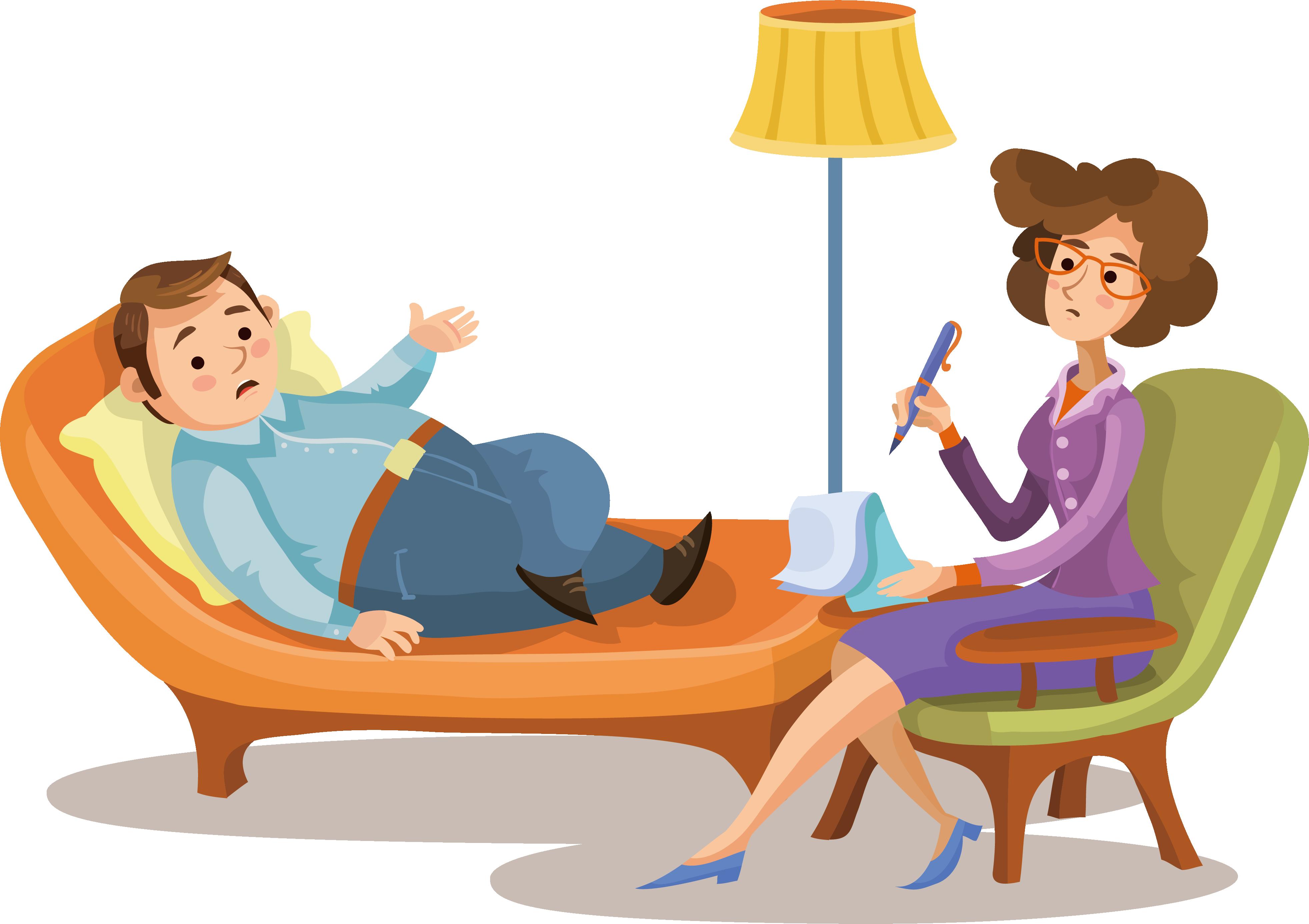 Psychotherapist cartoon psychologist illustration. Psychology clipart psychiatric patient