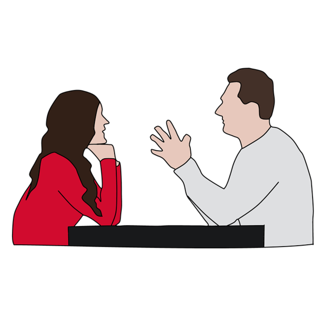 Working on your relationship. Conversation clipart two person