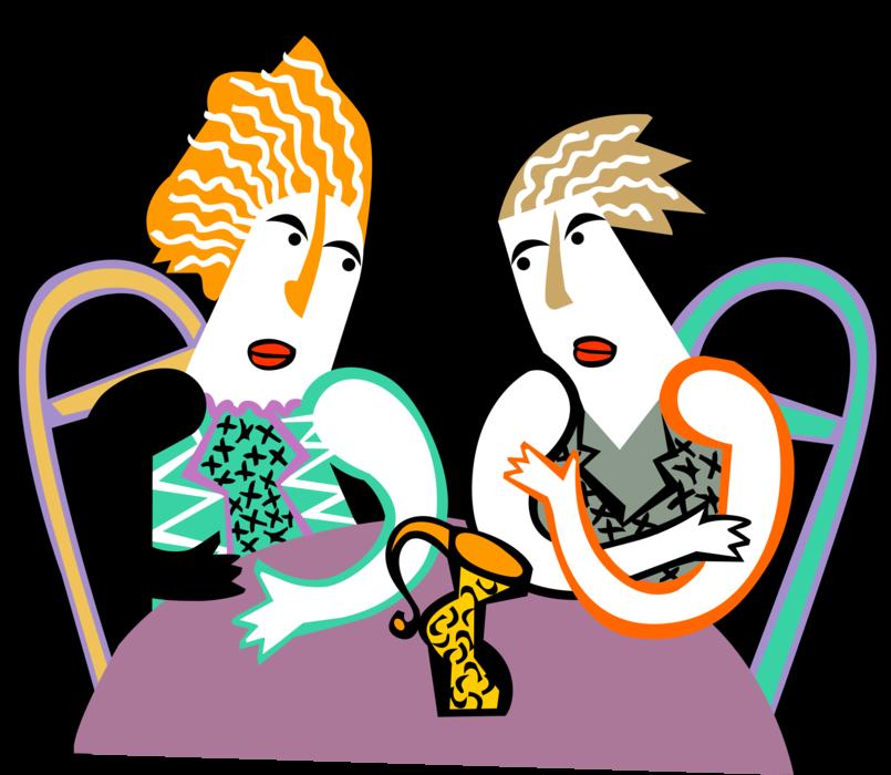 Women enjoy at caf. Conversation clipart woman conversation