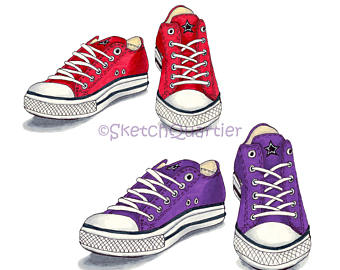Converse clipart. Etsy red and purple