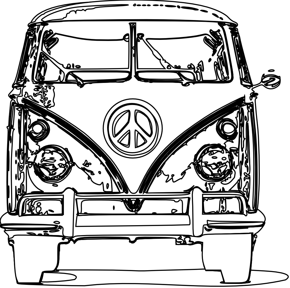 hippie clipart coloring page