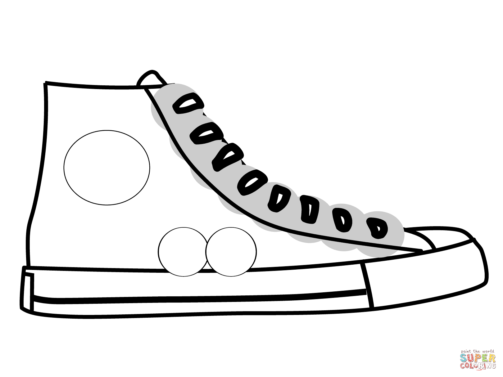 Converse clipart sneaker coloring. High top shoe page