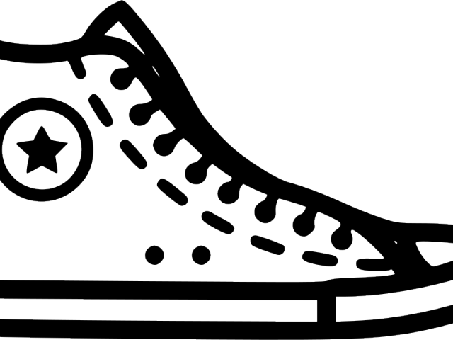 Converse clipart stencil. Shoes black and white