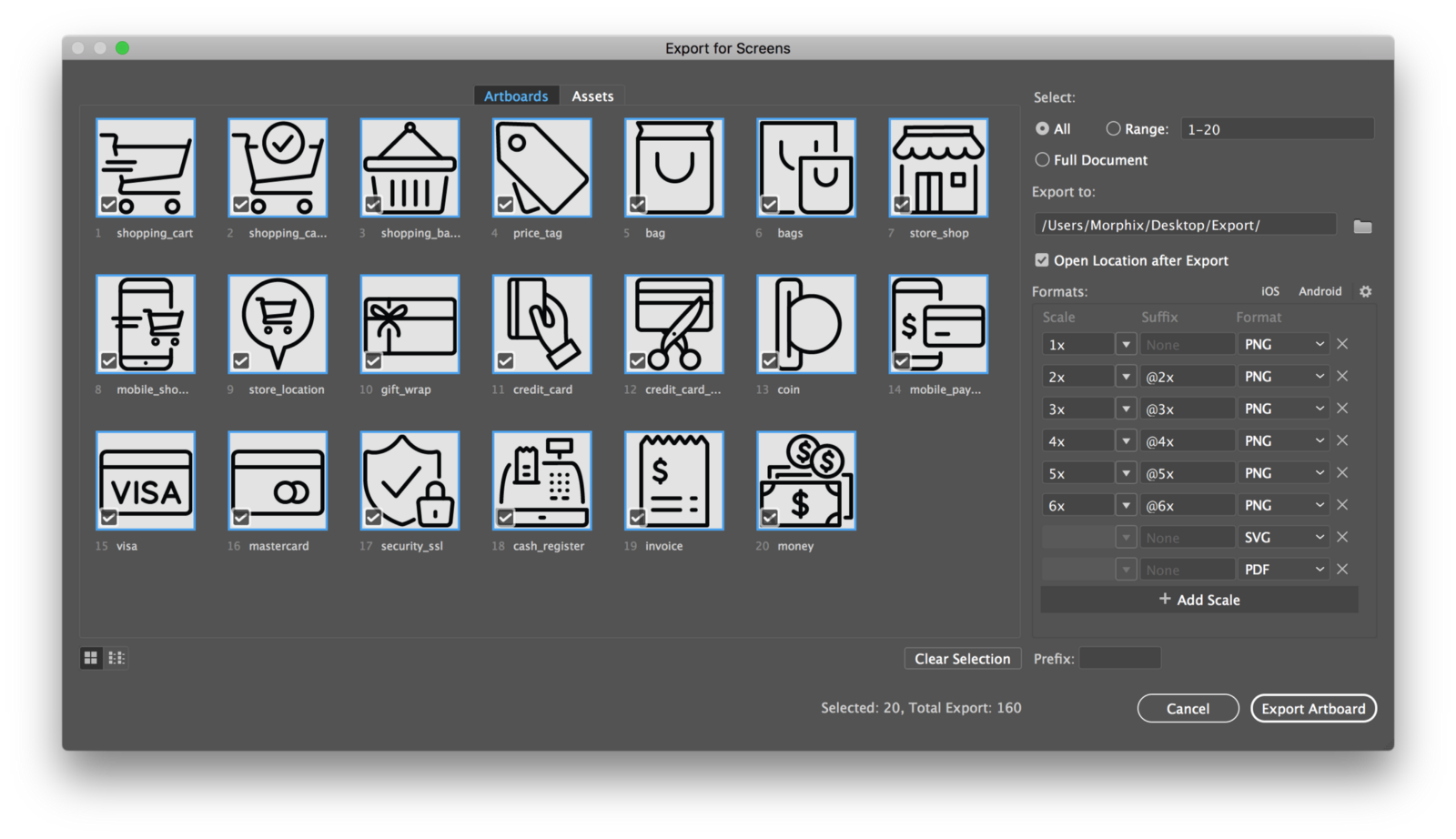 Convert png to vector illustrator. How export icons multiple