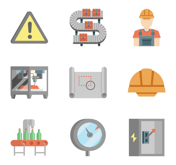 Factory icons free production. Converting png to vector