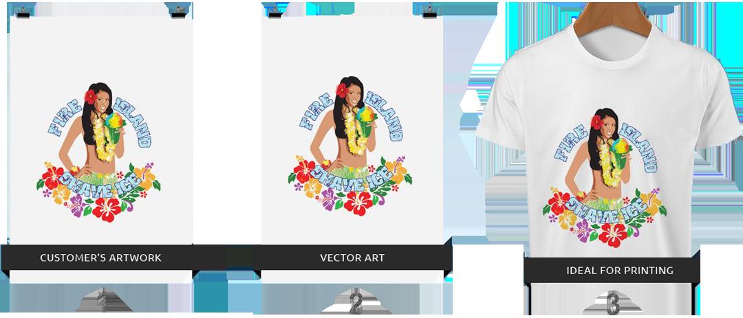 Custom artwork conversion printing. Converting png to vector