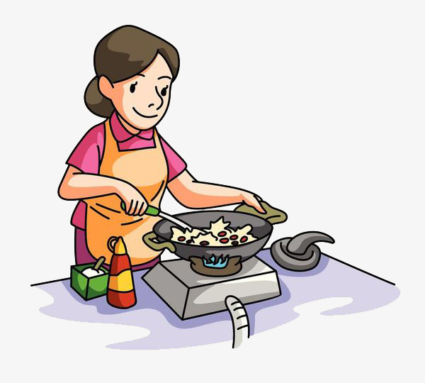Cooking clipart. The mother who is