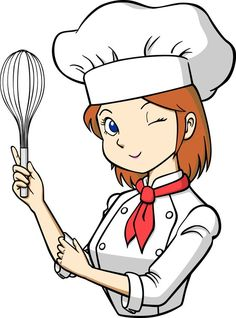Free cartoon girl chef. Cook clipart