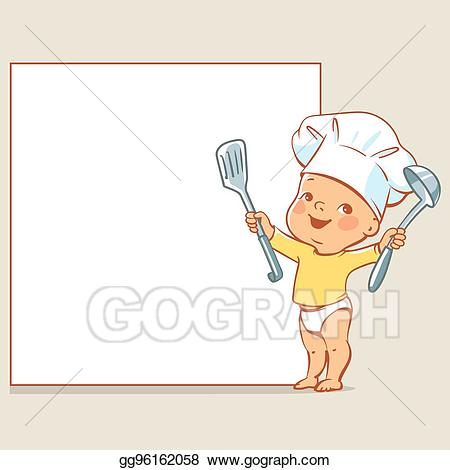 Cook clipart baby. Vector stock little chef