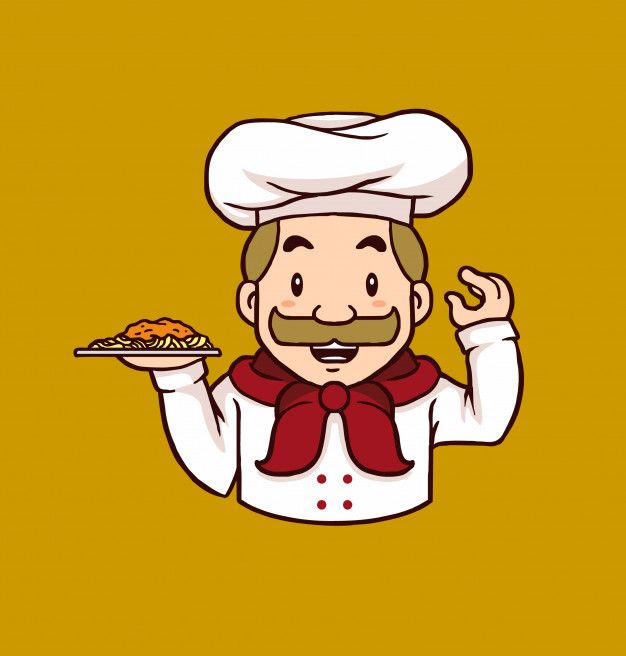 Cook clipart bawarchi. Chef mascot logo holding