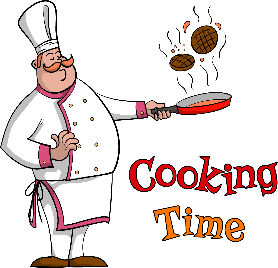 Cooking clipart covered food. Chef frying pan time