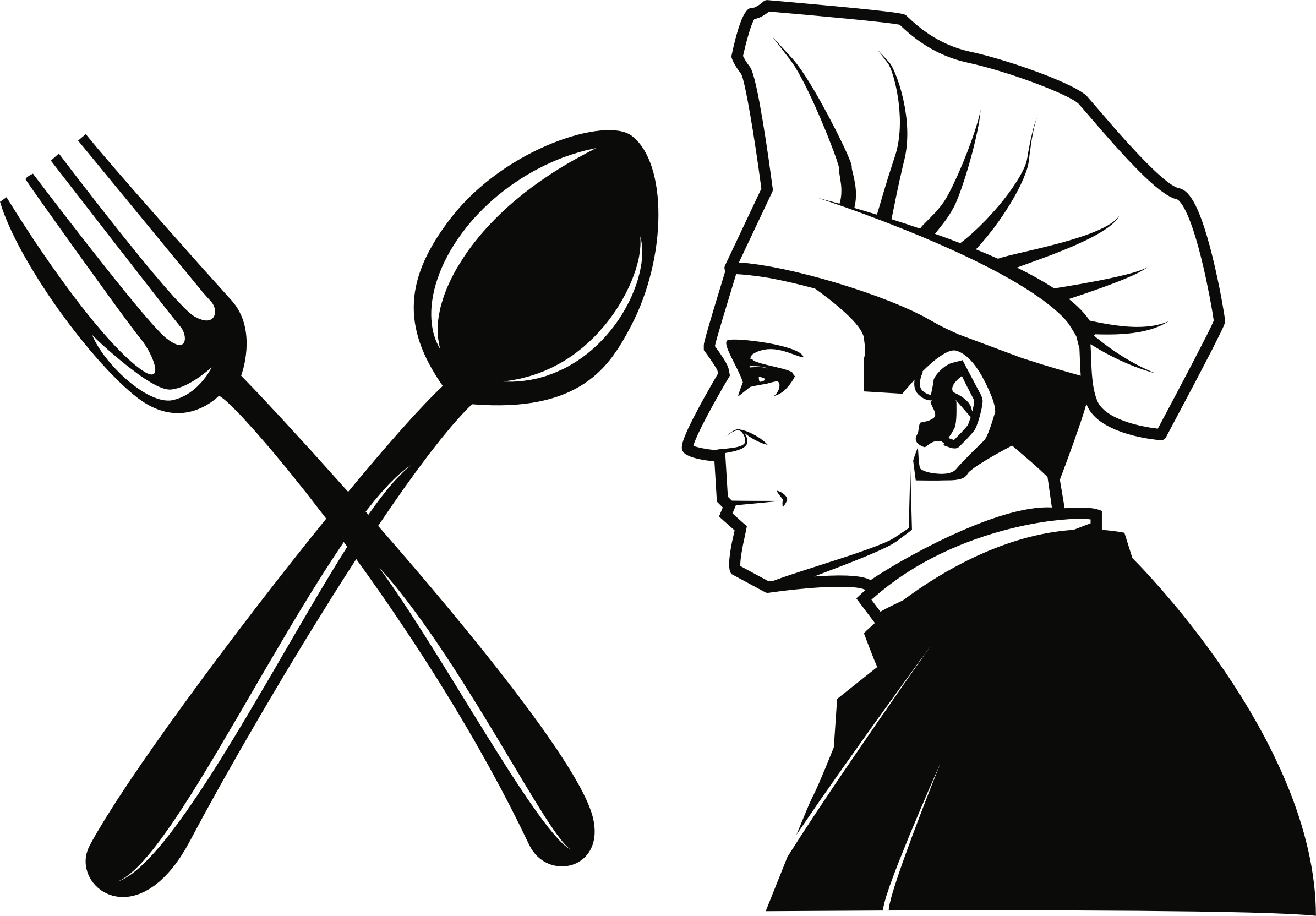 Public domain chef fork. Cooking clipart bawarchi