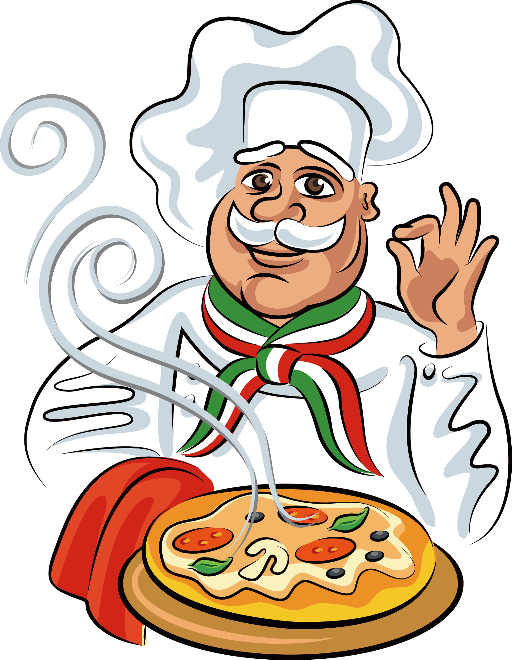 Pizza italian cuisine chef. Italy clipart home cooked food