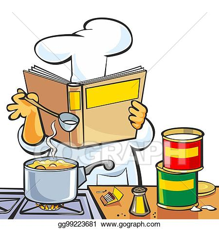 Cookbook clipart chef hat. Vector art preparing soup