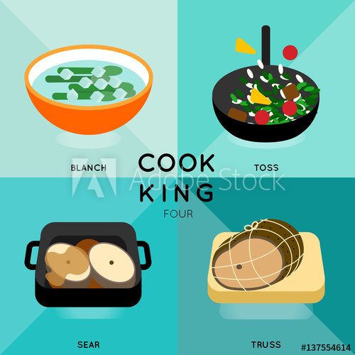 Cook clipart cooking method. King four of process