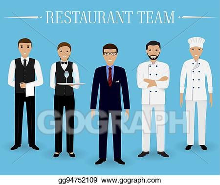 Vector stock restaurant team. Waitress clipart waiter uniform