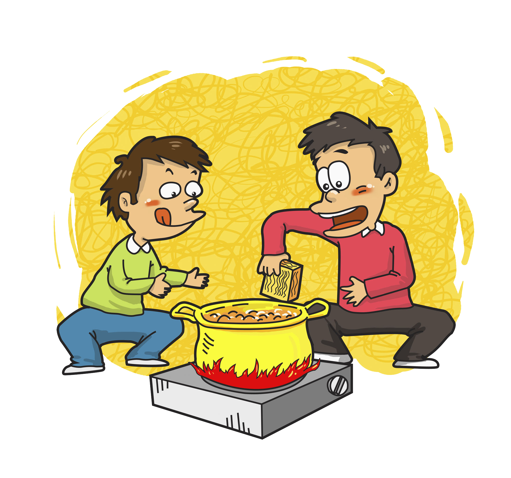 Cartoon boy two boys. Cooking clipart covered food