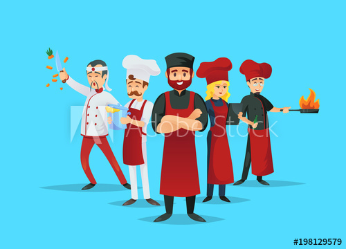 Cook clipart kitchen staff. Professional chef teaching concept
