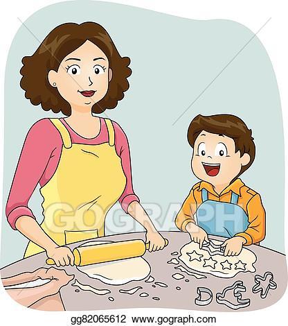 Vector illustration kid boy. Cook clipart mother baking cake