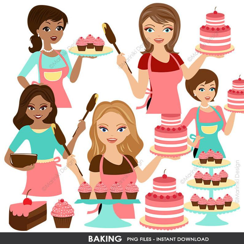 Cook clipart mother baking cake. Clip art woman bakers