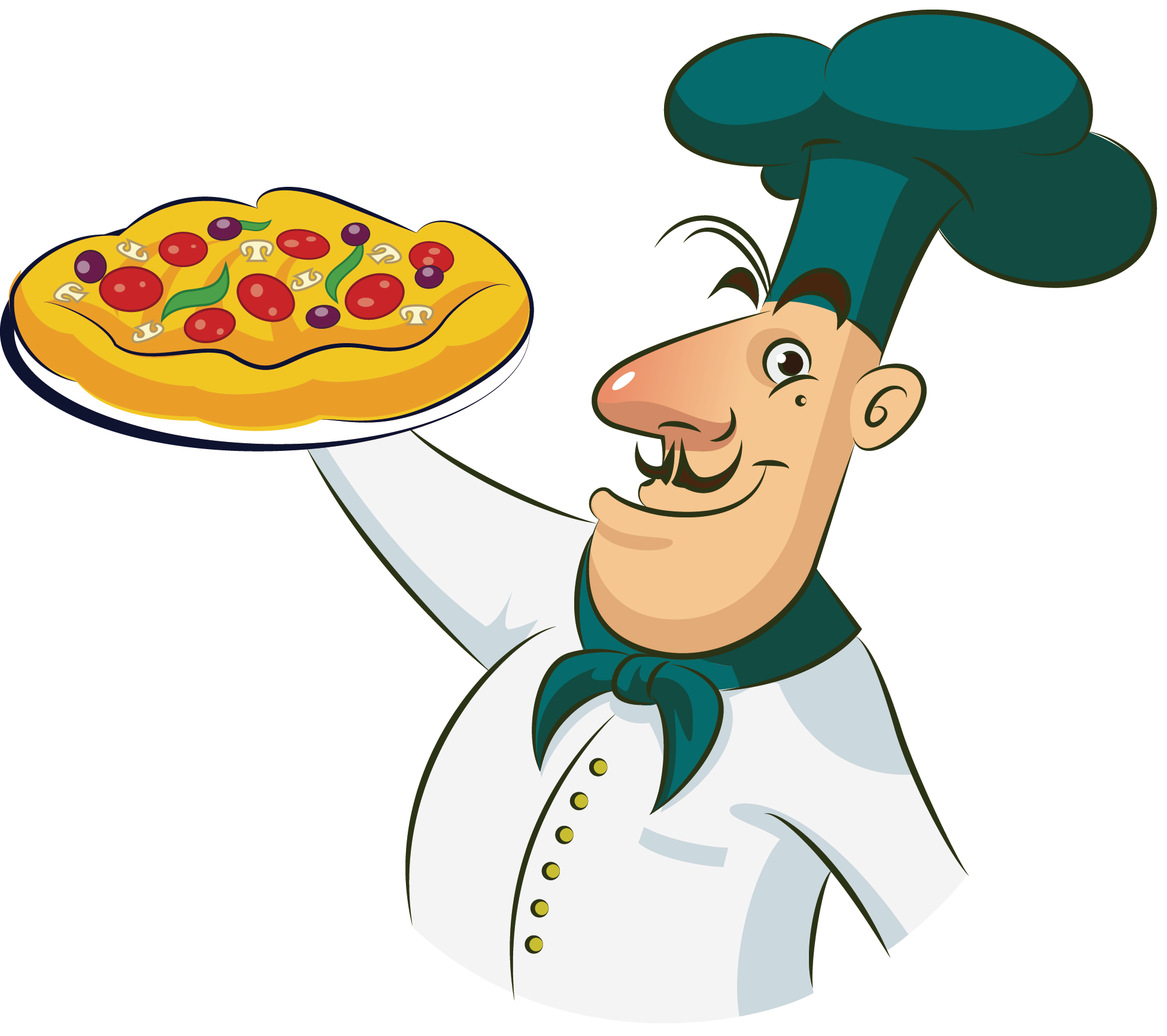 Cooking clipart covered food. Pizza chef clip art