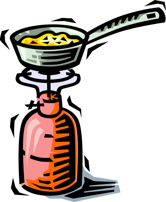 Camping frying pan on. Cook clipart stove cooking