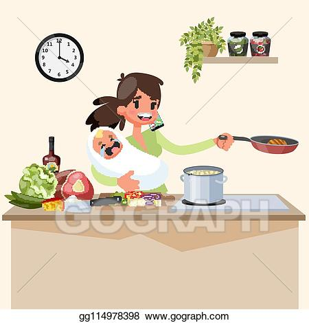 Tired clipart cook. Clip art vector busy