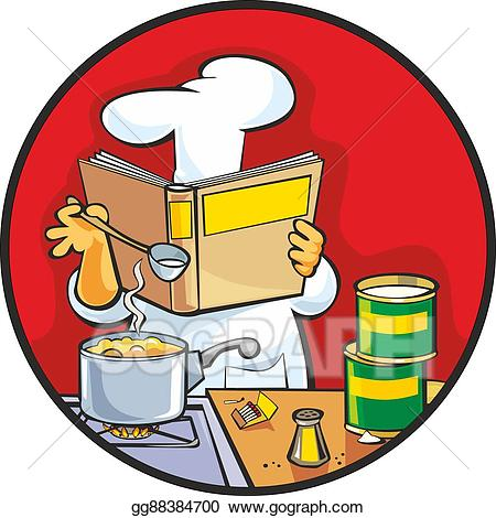 Vector art chef preparing. Cookbook clipart