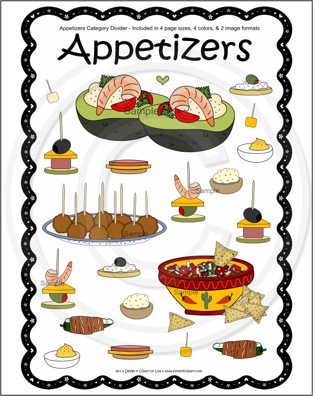 Cookbook clipart appetizer. Recipe pages appetizers recipes