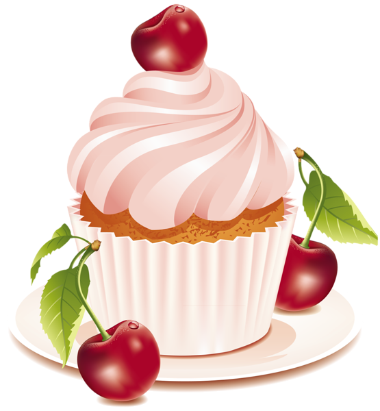 Cherry cupcake art cherrycake. Cookbook clipart bakery
