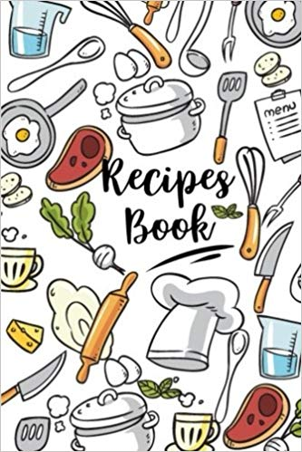 Recipes for blank journal. Cookbook clipart cooking book