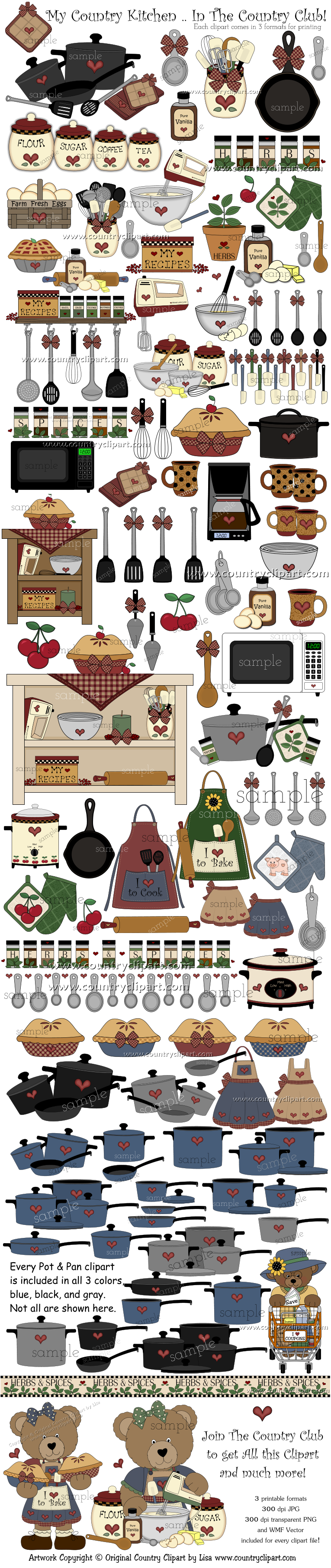 Cookbook clipart country kitchen. Graphics