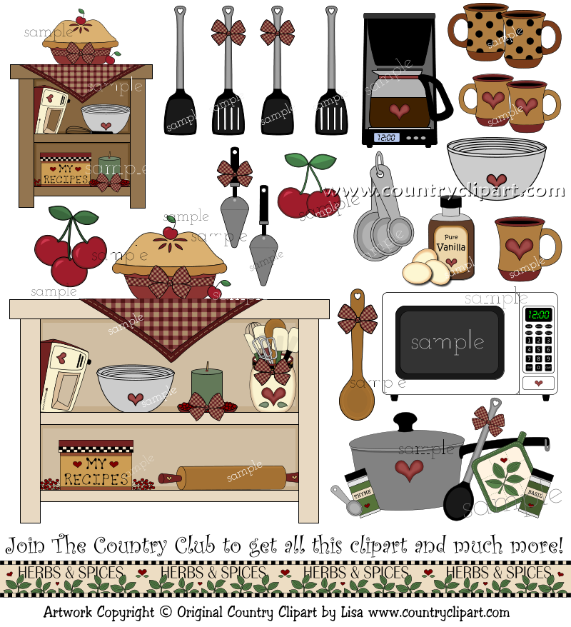 Cookbook clipart country kitchen. Baking cooking clip art