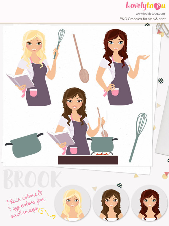 Cookbook clipart cute kitchen. Cooking woman character cook