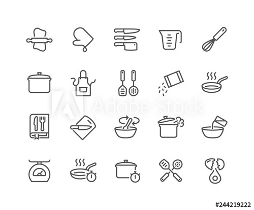 Cookbook clipart line cook. Simple set of cooking