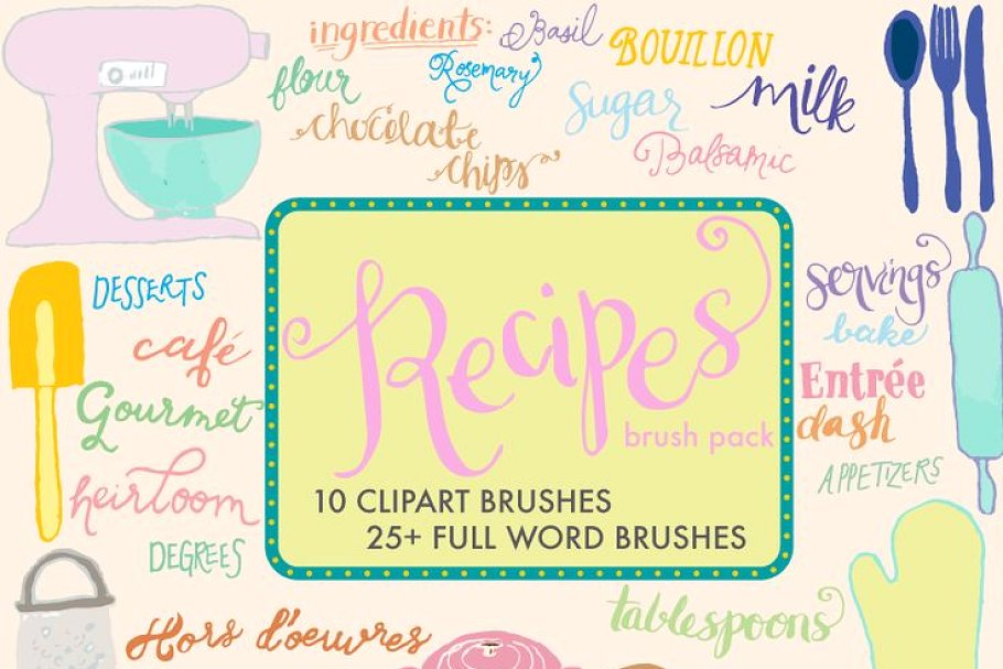 Cookbook clipart recipe word. Brush pack words other