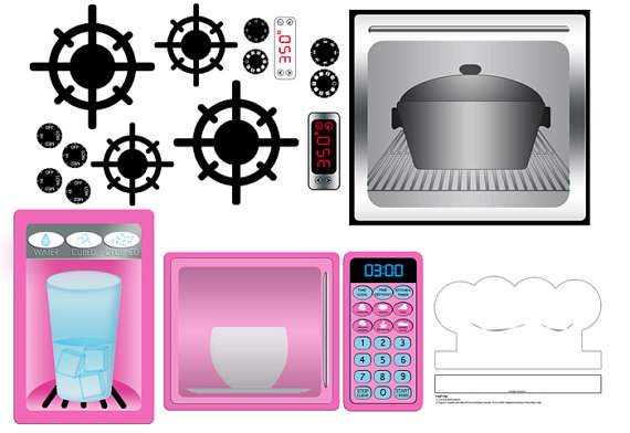 Cookbook clipart toy kitchen. Digital download pink play