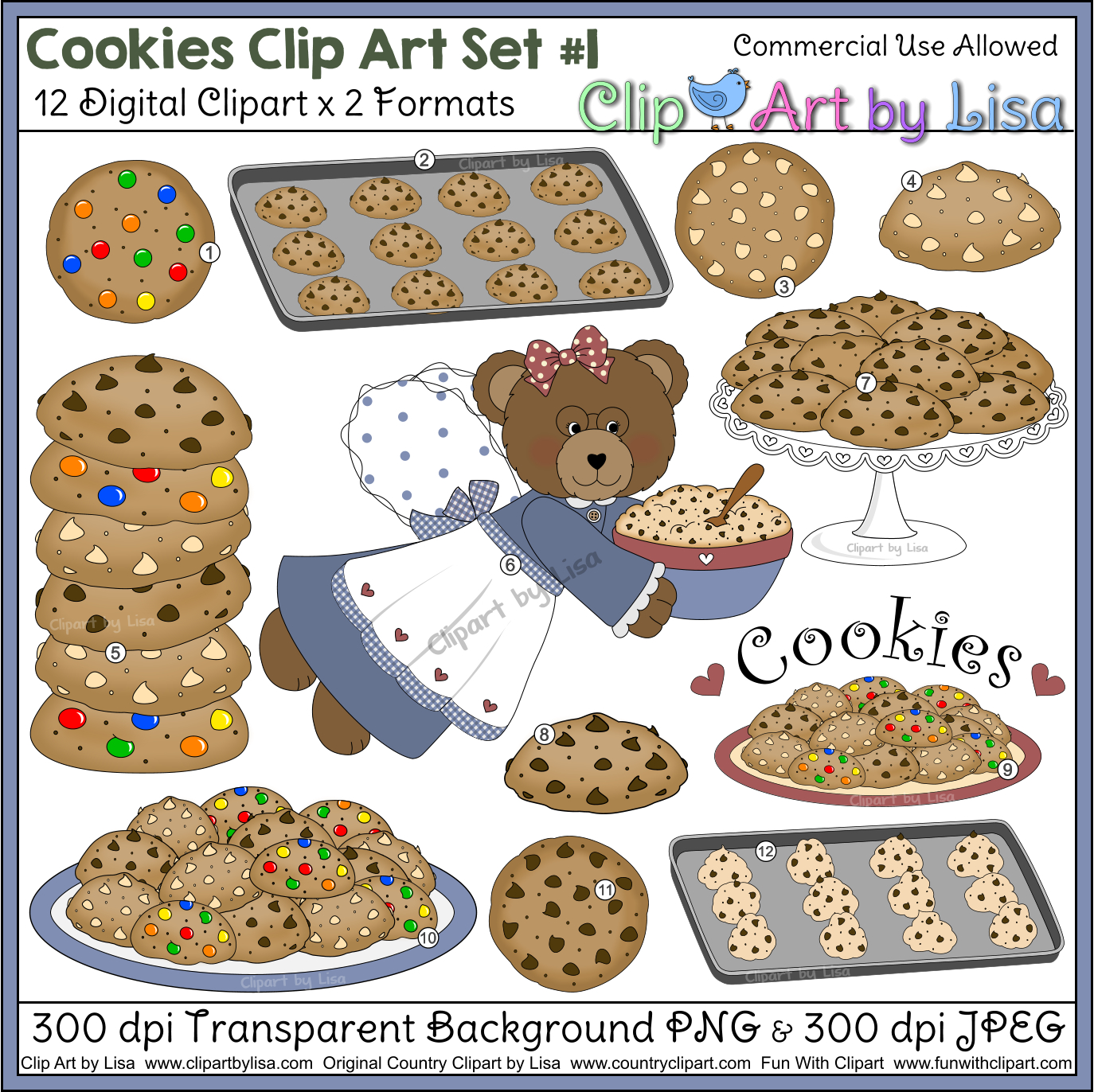 Cookies with grandma bear. Cookie clipart cooking