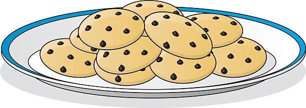 Cookie clipart plate cookie. Pencil and in color