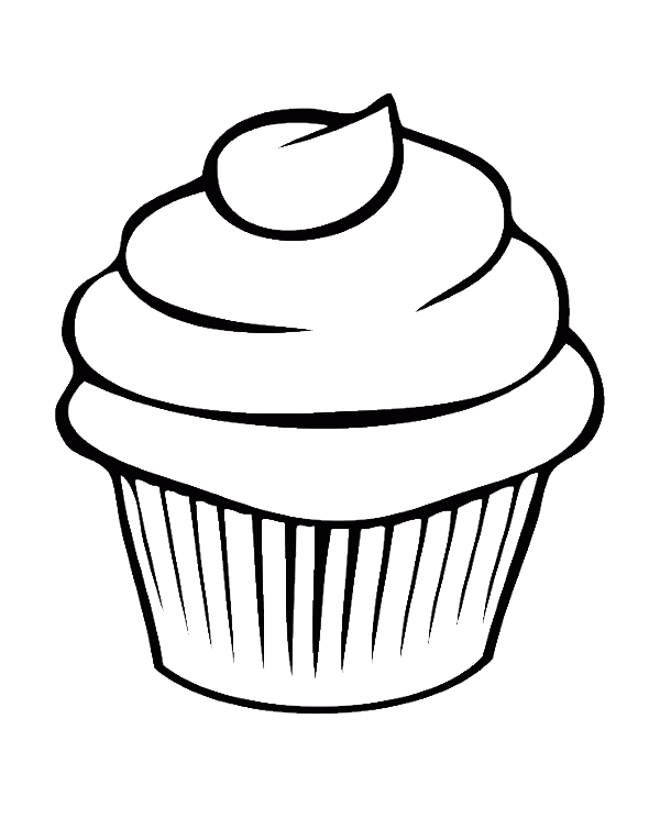 Drawing line art watercolor. Clipart cupcake easy