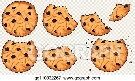Vector stock with chocolate. Cookies clipart bitten food