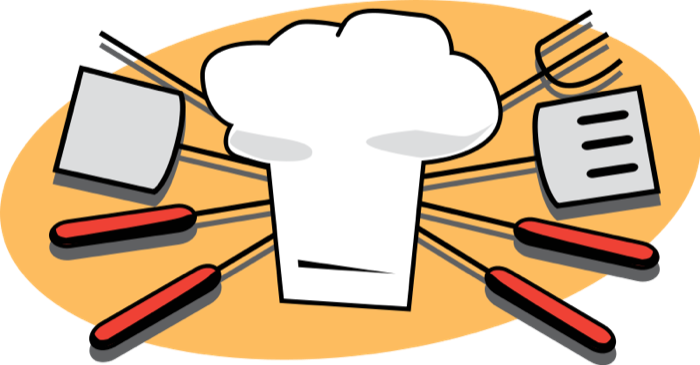 Baking kitchen supplies outside. Cooking clipart