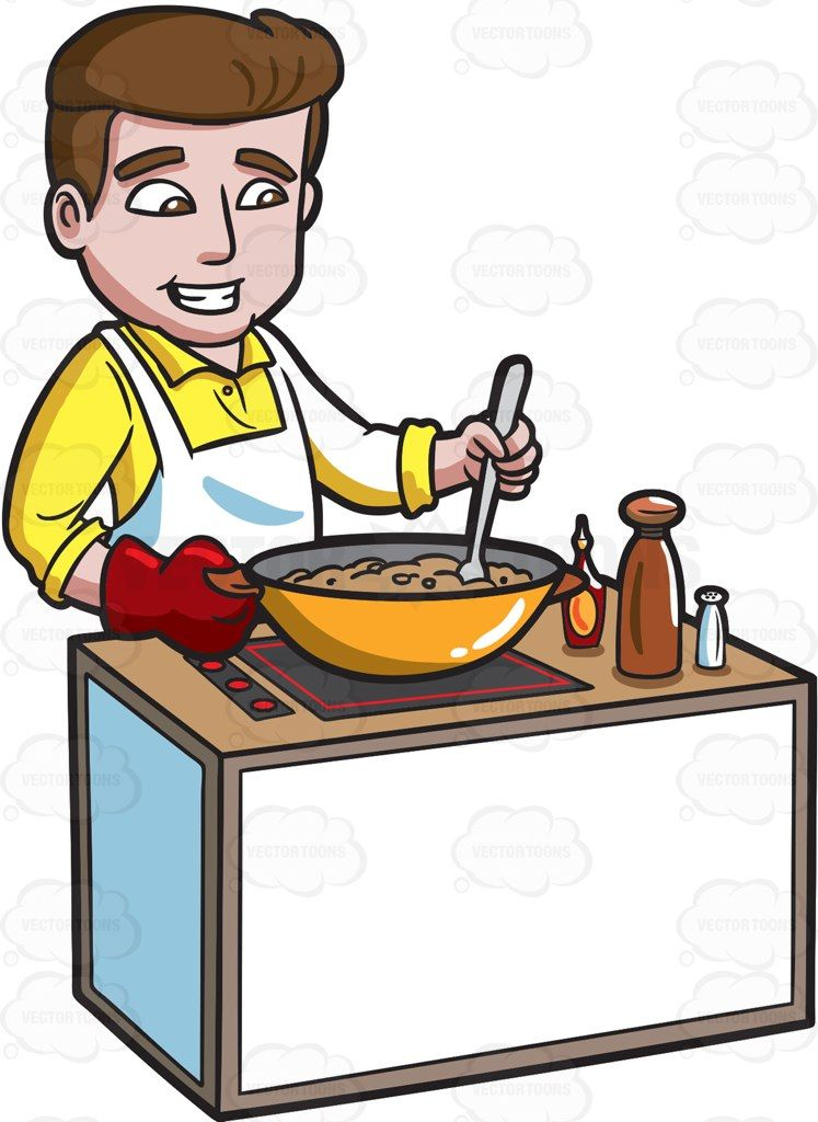 A happy man making. Cooking clipart home cooked meal