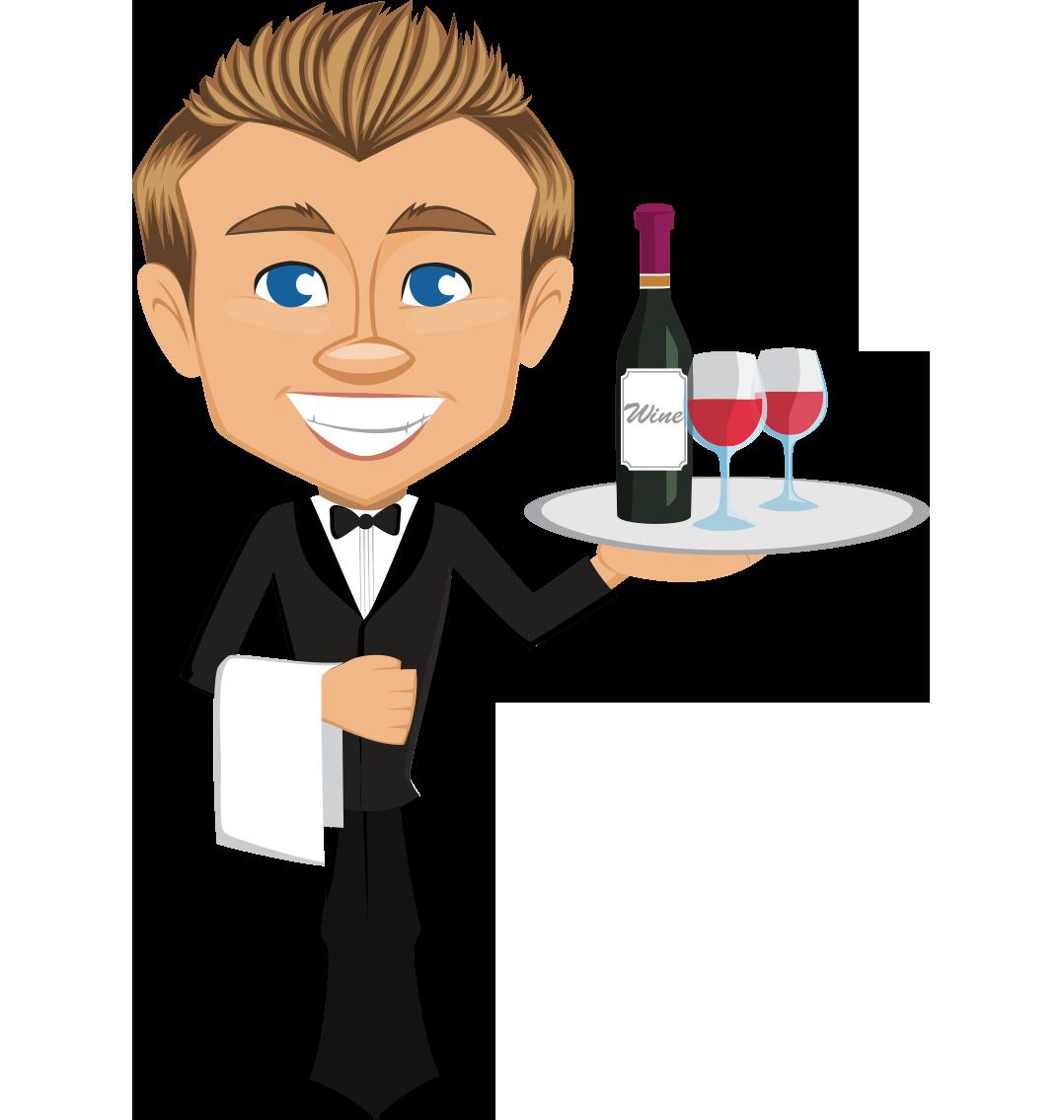 Cartoon q version cook. Cooking clipart hotel waiter