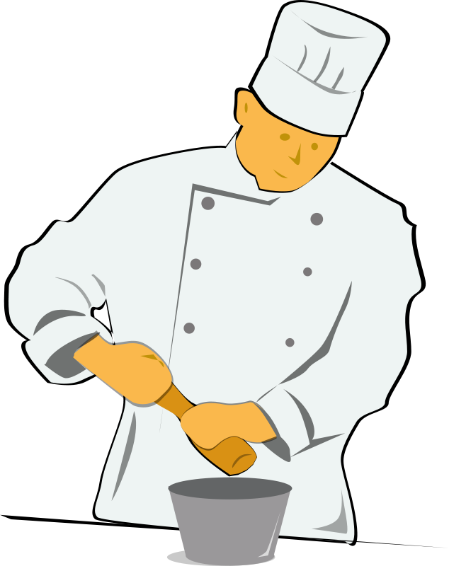 Chef retro food household. Cook clipart kitchen staff